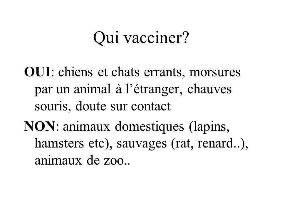 Qui vacciner? OUI: chiens et chats errants, morsures par un animal à létranger, chauves souris, doute sur contact NON: animaux domestiques (lapins, ha