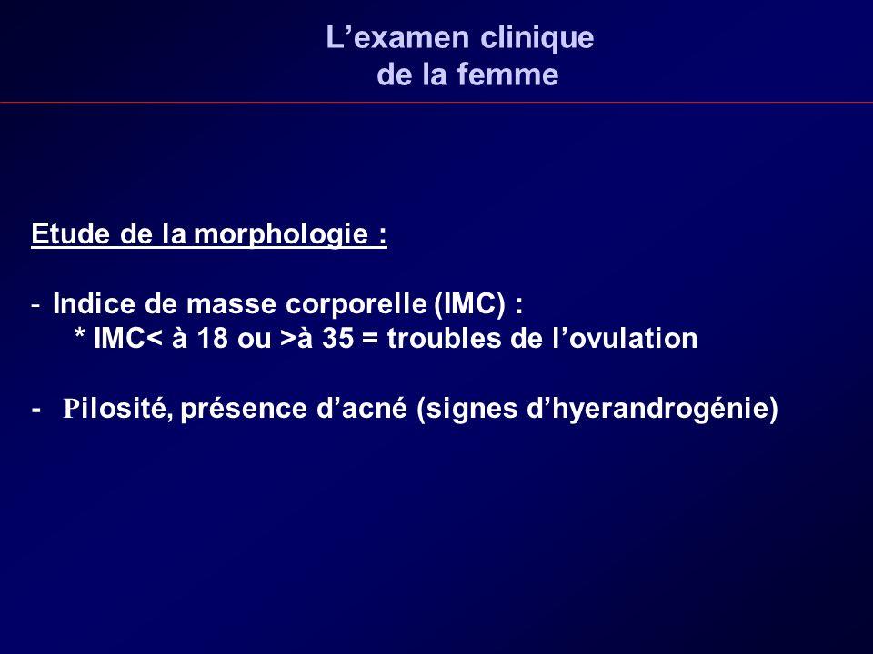 Lexamen clinique de la femme Etude de la morphologie : - -Indice de masse corporelle (IMC) : * IMC à 35 = troubles de lovulation - P ilosité, présence