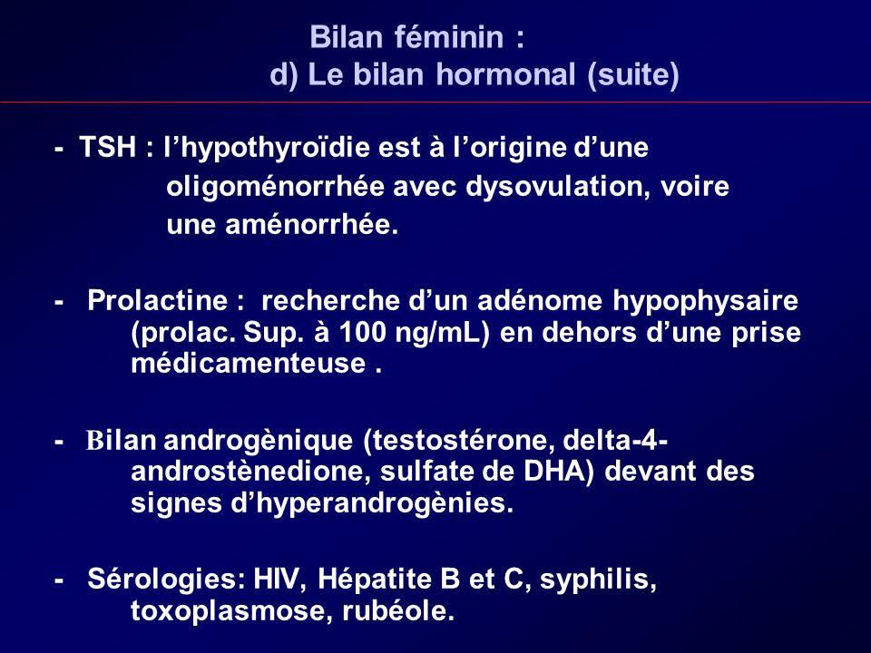 Bilan féminin : d) Le bilan hormonal (suite) - TSH : lhypothyroïdie est à lorigine dune oligoménorrhée avec dysovulation, voire une aménorrhée. - Prol