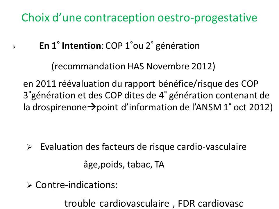 Choix dune contraception oestro-progestative En 1° Intention: COP 1°ou 2° génération (recommandation HAS Novembre 2012) en 2011 réévaluation du rappor