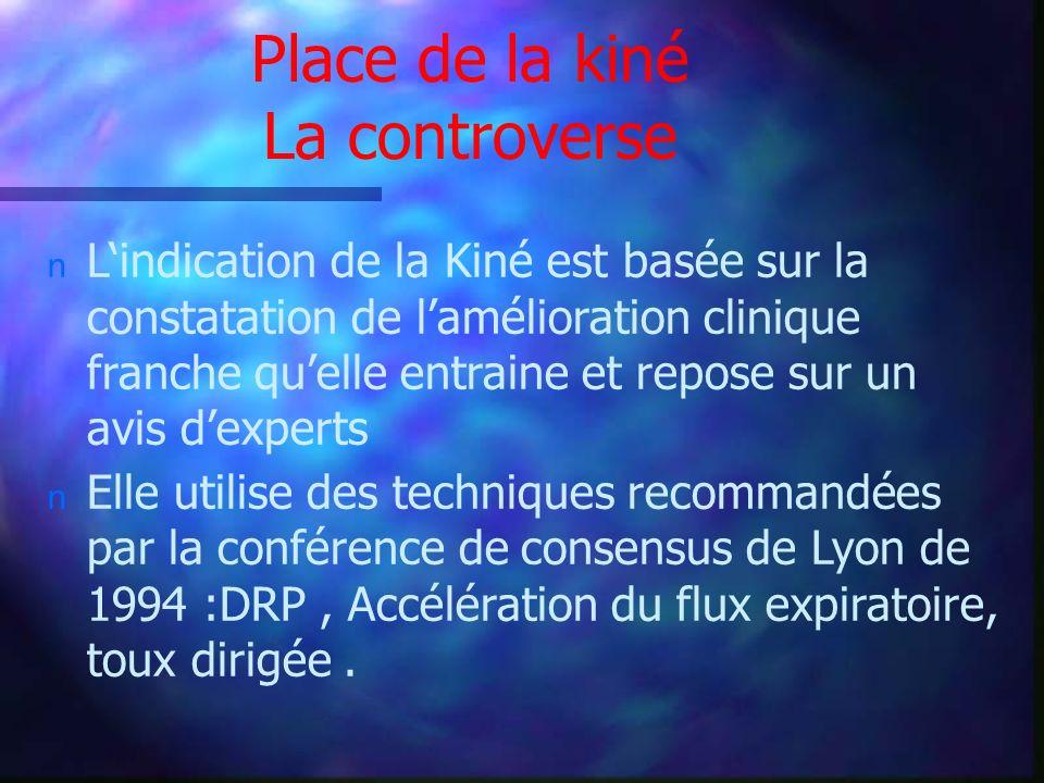 Place de la kiné La controverse n Lindication de la Kiné est basée sur la constatation de lamélioration clinique franche quelle entraine et repose sur