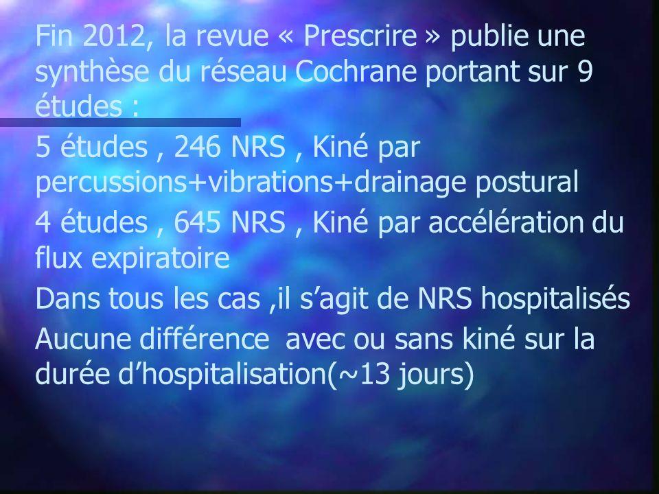 Fin 2012, la revue « Prescrire » publie une synthèse du réseau Cochrane portant sur 9 études : 5 études, 246 NRS, Kiné par percussions+vibrations+drai