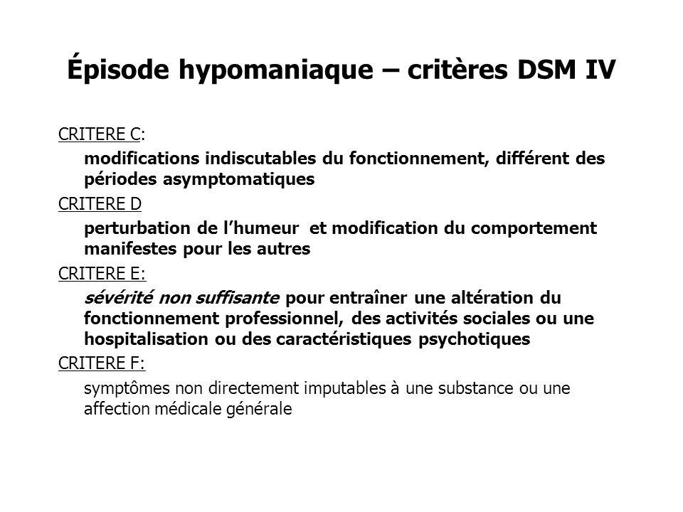 Épisode hypomaniaque – critères DSM IV CRITERE C: modifications indiscutables du fonctionnement, différent des périodes asymptomatiques CRITERE D pert