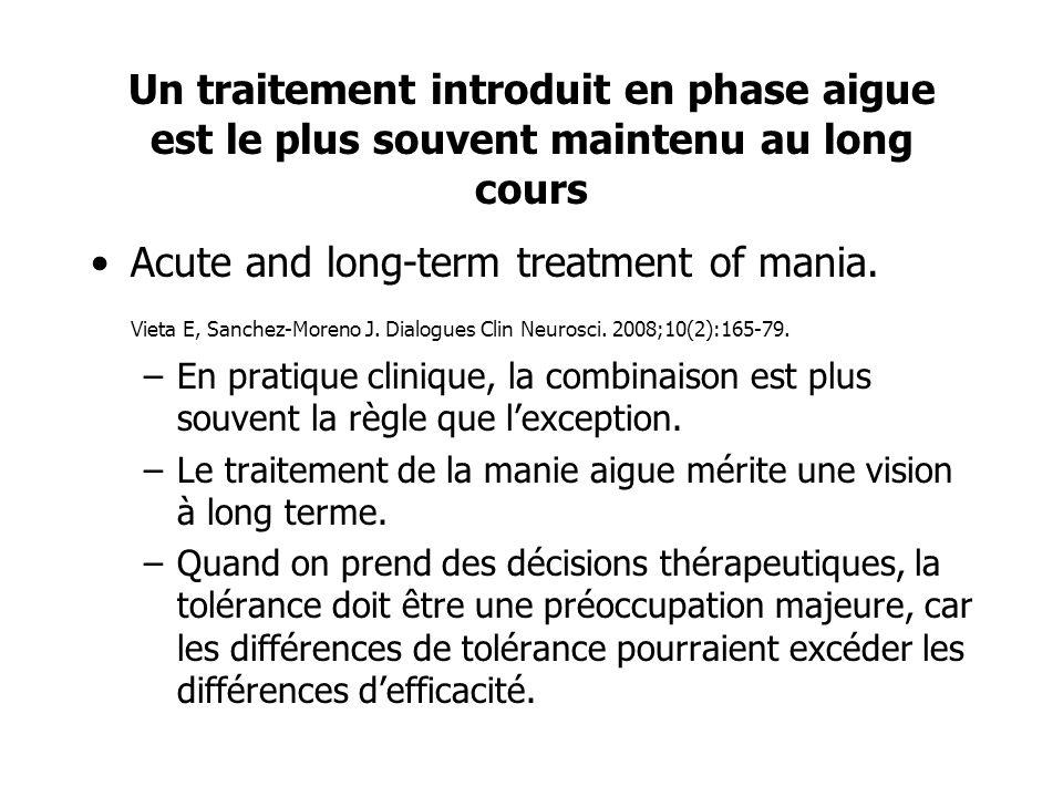 Un traitement introduit en phase aigue est le plus souvent maintenu au long cours Acute and long-term treatment of mania. Vieta E, Sanchez-Moreno J. D