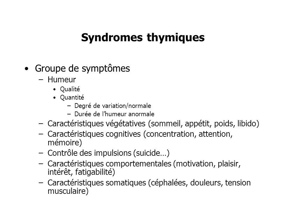 Syndromes thymiques Groupe de symptômes –Humeur Qualité Quantité –Degré de variation/normale –Durée de lhumeur anormale –Caractéristiques végétatives