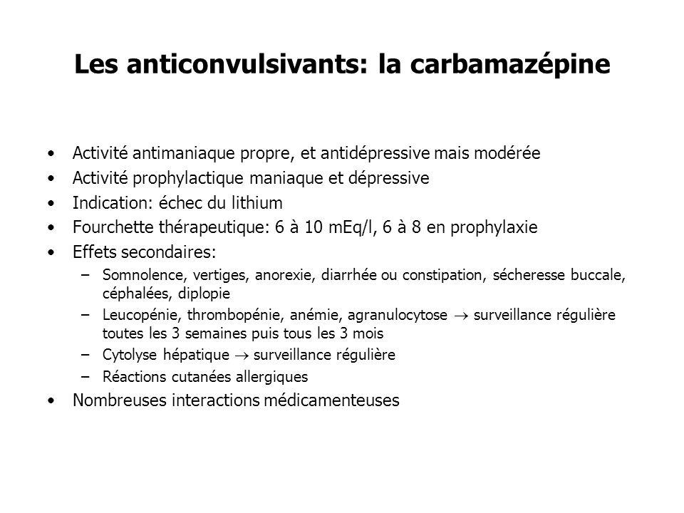 Les anticonvulsivants: la carbamazépine Activité antimaniaque propre, et antidépressive mais modérée Activité prophylactique maniaque et dépressive In
