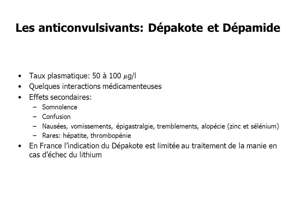 Les anticonvulsivants: Dépakote et Dépamide Taux plasmatique: 50 à 100 g/l Quelques interactions médicamenteuses Effets secondaires: –Somnolence –Conf