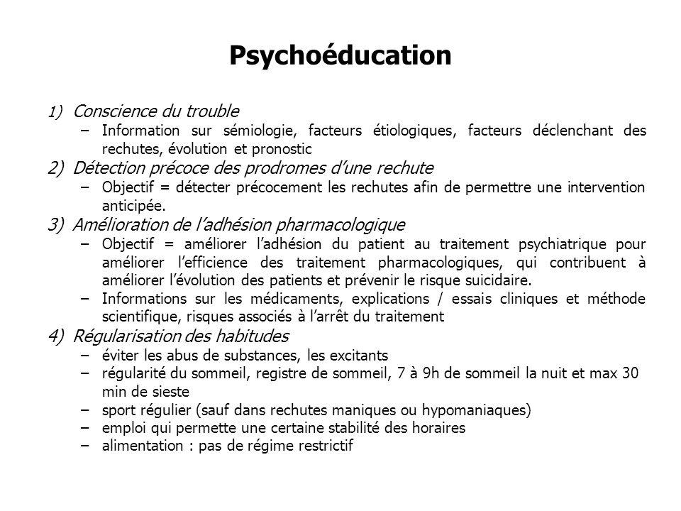 Psychoéducation 1) Conscience du trouble –Information sur sémiologie, facteurs étiologiques, facteurs déclenchant des rechutes, évolution et pronostic