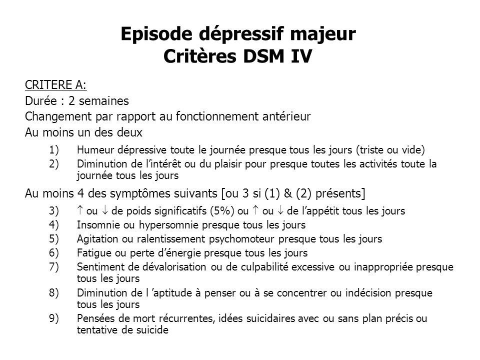 Episode dépressif majeur Critères DSM IV CRITERE A: Durée : 2 semaines Changement par rapport au fonctionnement antérieur Au moins un des deux 1)Humeu