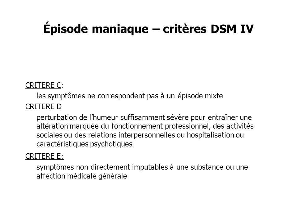 Épisode maniaque – critères DSM IV CRITERE C: les symptômes ne correspondent pas à un épisode mixte CRITERE D perturbation de lhumeur suffisamment sév