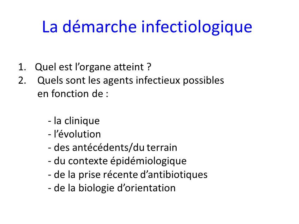 La démarche infectiologique 1.Quel est lorgane atteint ? 2. Quels sont les agents infectieux possibles en fonction de : - la clinique - lévolution - d