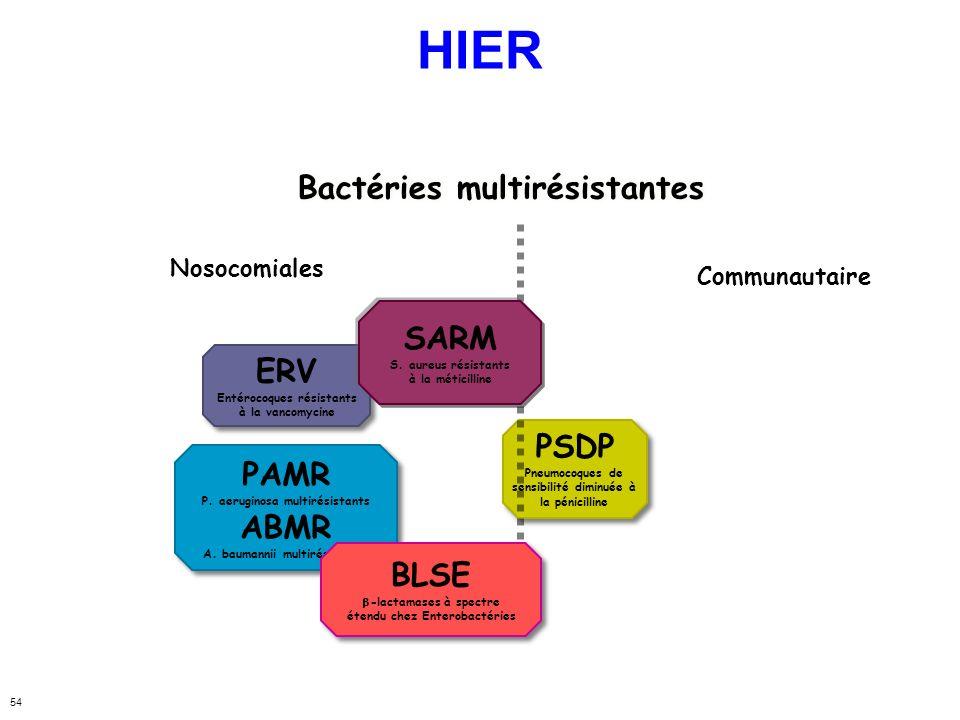 54 ERV Entérocoques résistants à la vancomycine ERV Entérocoques résistants à la vancomycine PSDP Pneumocoques de sensibilité diminuée à la pénicillin