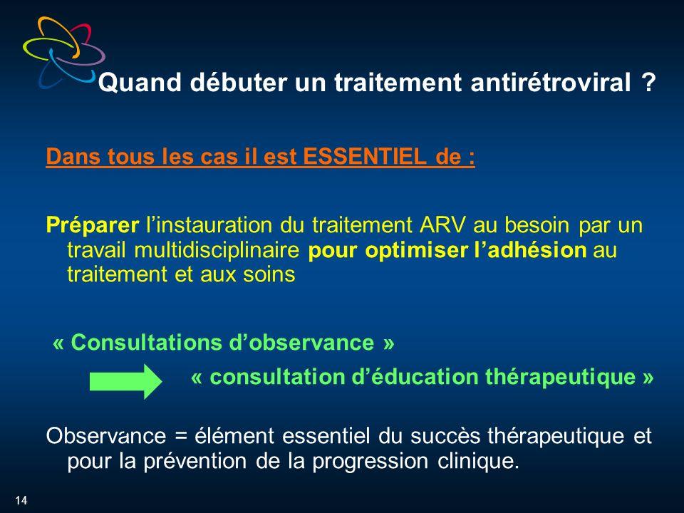 14 Quand débuter un traitement antirétroviral .