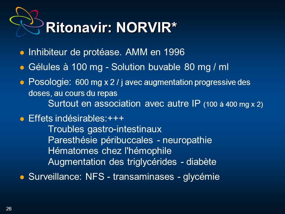 26 Ritonavir: NORVIR* Inhibiteur de protéase. AMM en 1996 Gélules à 100 mg - Solution buvable 80 mg / ml Posologie: 600 mg x 2 / j avec augmentation p