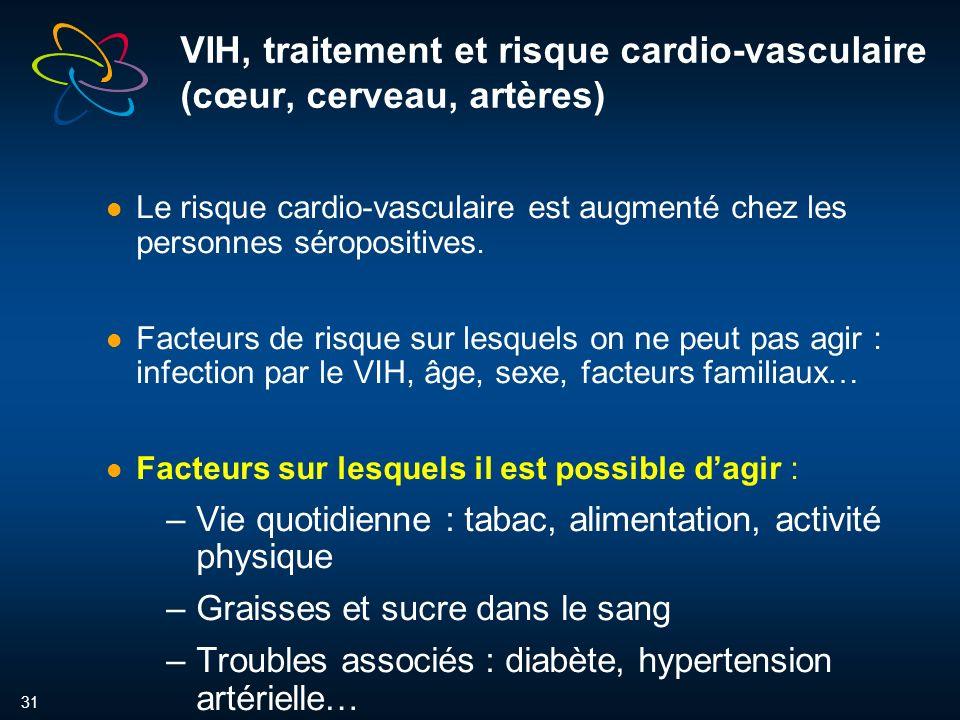 31 VIH, traitement et risque cardio-vasculaire (cœur, cerveau, artères) Le risque cardio-vasculaire est augmenté chez les personnes séropositives.