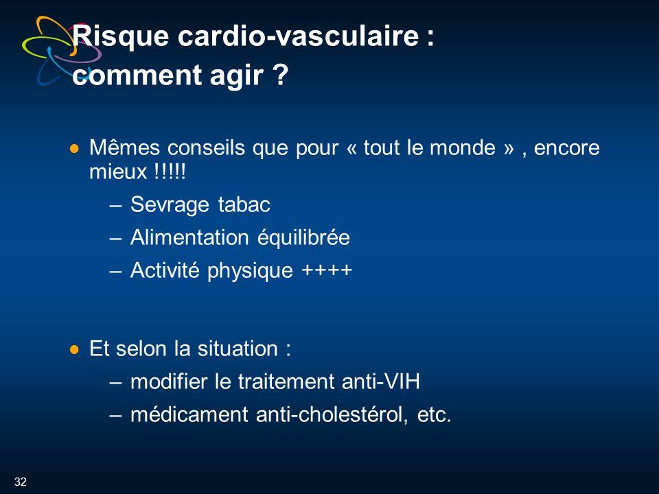 32 Risque cardio-vasculaire : comment agir .