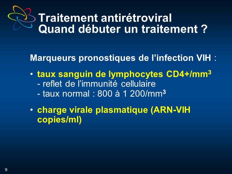 9 Traitement antirétroviral Quand débuter un traitement .