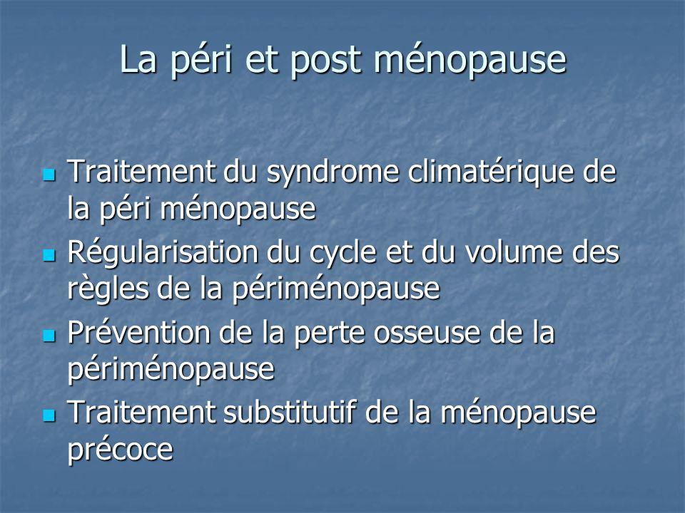 La péri et post ménopause Traitement du syndrome climatérique de la péri ménopause Traitement du syndrome climatérique de la péri ménopause Régularisation du cycle et du volume des règles de la périménopause Régularisation du cycle et du volume des règles de la périménopause Prévention de la perte osseuse de la périménopause Prévention de la perte osseuse de la périménopause Traitement substitutif de la ménopause précoce Traitement substitutif de la ménopause précoce