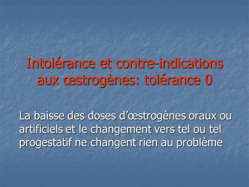 Intolérance et contre-indications aux œstrogènes: tolérance 0 La baisse des doses dœstrogènes oraux ou artificiels et le changement vers tel ou tel progestatif ne changent rien au problème