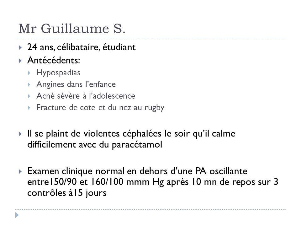 Mr Guillaume S. 24 ans, célibataire, étudiant Antécédents: Hypospadias Angines dans lenfance Acné sévère à ladolescence Fracture de cote et du nez au