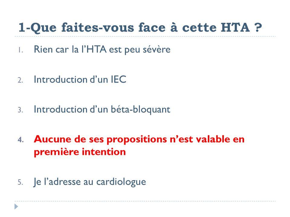 1-Que faites-vous face à cette HTA ? 1. Rien car la lHTA est peu sévère 2. Introduction dun IEC 3. Introduction dun béta-bloquant 4. Aucune de ses pro