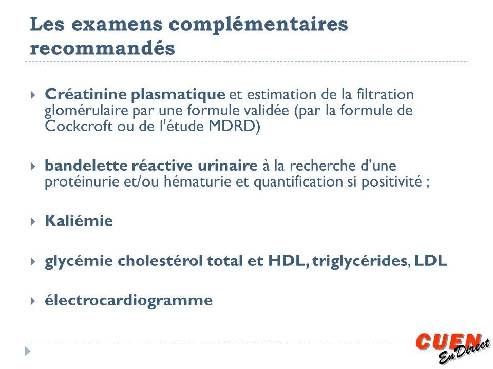 Les examens complémentaires recommandés Créatinine plasmatique et estimation de la filtration glomérulaire par une formule validée (par la formule de