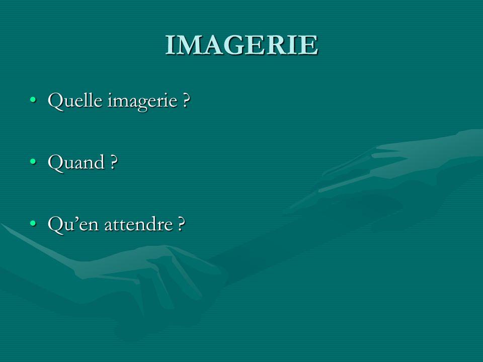 IMAGERIE Quelle imagerie ?Quelle imagerie ? Quand ?Quand ? Quen attendre ?Quen attendre ?