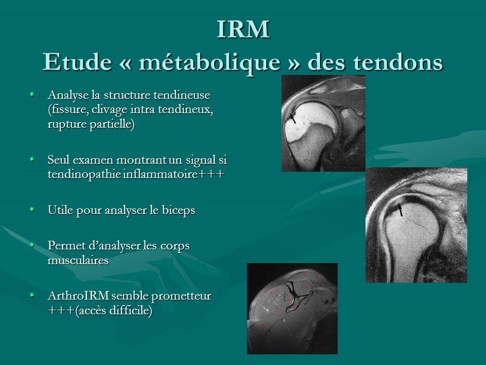 IRM Etude « métabolique » des tendons Analyse la structure tendineuse (fissure, clivage intra tendineux, rupture partielle)Analyse la structure tendin