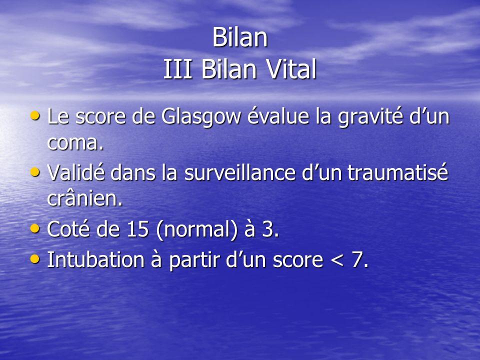 Bilan III Bilan Vital Echelle de Glasgow Echelle de Glasgow Ouverture des yeux Ouverture des yeux –4 Spontanée –3 A la voix –2 A la douleur –1 Aucune