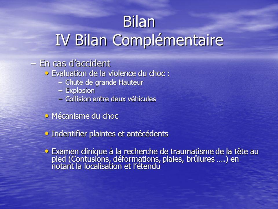 Bilan IV Bilan Complémentaire Examen clinique Examen clinique –Orienté par linterrogatoire. –Prise de la température. –Prise de la tension artérielle.
