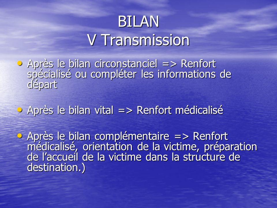 Bilan IV Bilan Complémentaire –En cas daccident Evaluation de la violence du choc : Evaluation de la violence du choc : –Chute de grande Hauteur –Expl