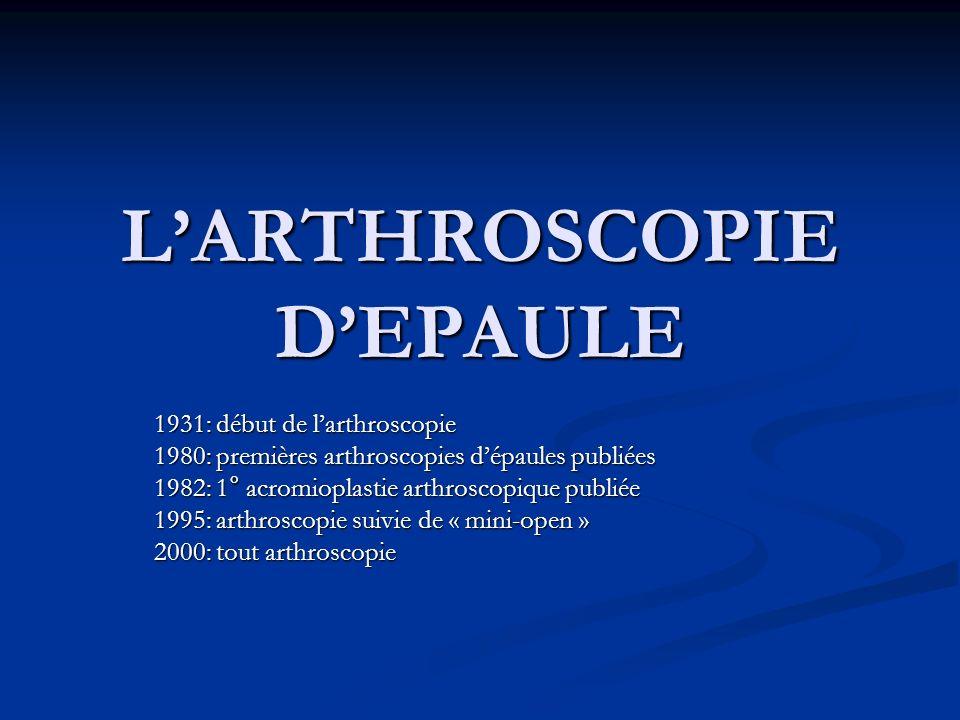 LARTHROSCOPIE DEPAULE 1931: début de larthroscopie 1980: premières arthroscopies dépaules publiées 1982: 1° acromioplastie arthroscopique publiée 1995