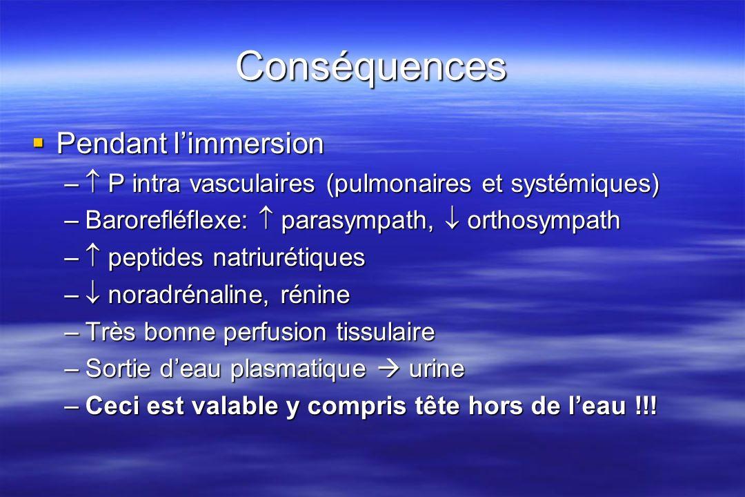 Conséquences Après limmersion Après limmersion –Disparition de la contention ( P hydrostatique) –Baisse des pressions intravasculaires –Baisse de la PA, du débit sanguin –Manque deau… –Un problème pour le sauvetage en mer