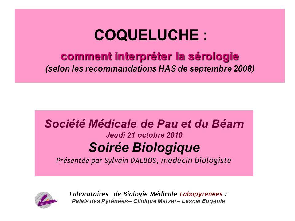 1 comment interpréter la sérologie COQUELUCHE : comment interpréter la sérologie (selon les recommandations HAS de septembre 2008) Société Médicale de