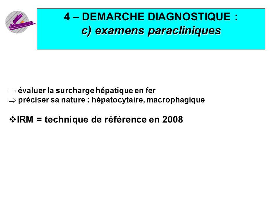 19 c) examens paracliniques 4 – DEMARCHE DIAGNOSTIQUE : c) examens paracliniques évaluer la surcharge hépatique en fer préciser sa nature : hépatocyta