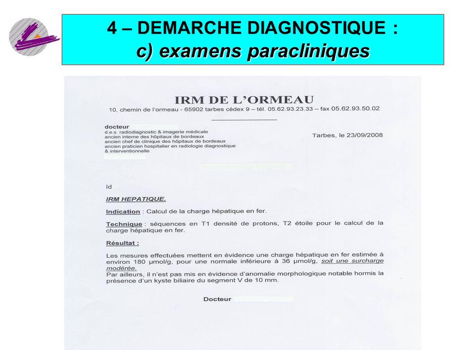 21 c) examens paracliniques 4 – DEMARCHE DIAGNOSTIQUE : c) examens paracliniques