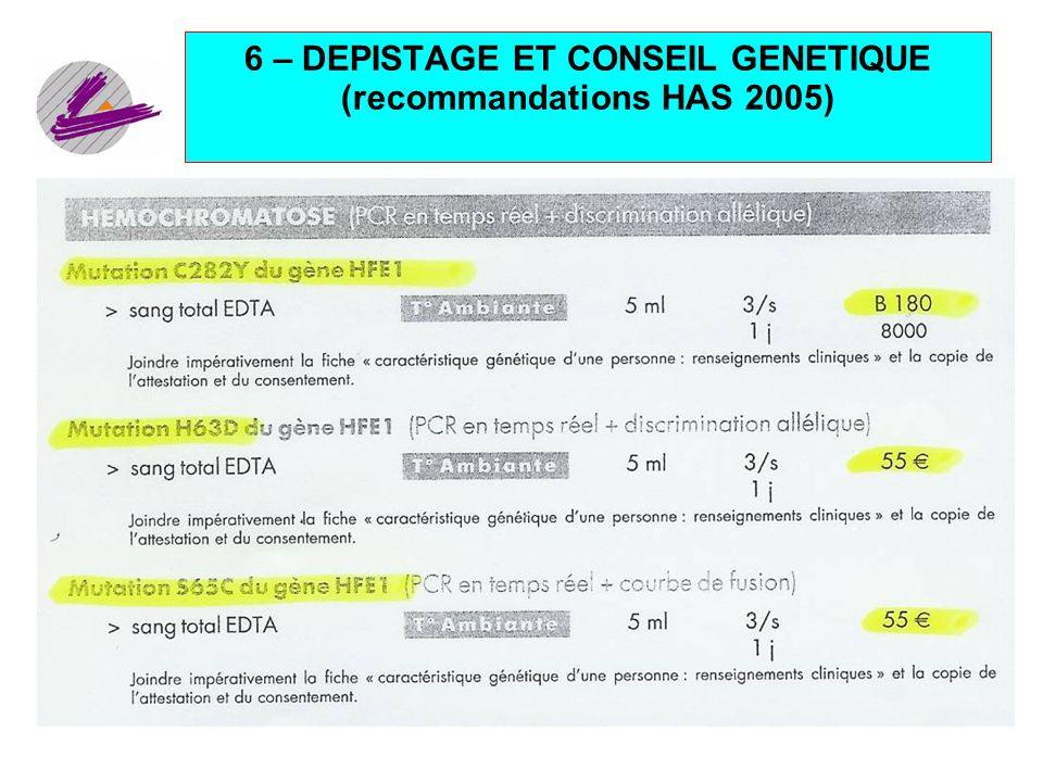 25 6 – DEPISTAGE ET CONSEIL GENETIQUE (recommandations HAS 2005)