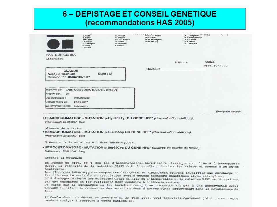 27 6 – DEPISTAGE ET CONSEIL GENETIQUE (recommandations HAS 2005)