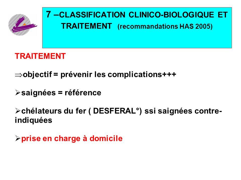 31 7 – CLASSIFICATION CLINICO-BIOLOGIQUE ET TRAITEMENT (recommandations HAS 2005) TRAITEMENT objectif = prévenir les complications+++ saignées = référ