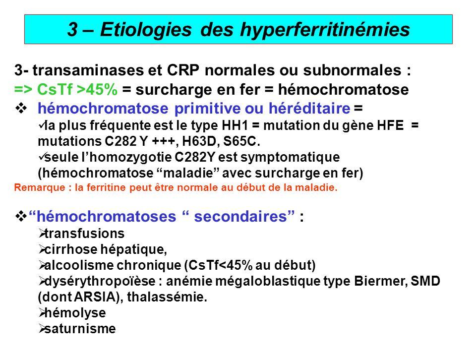 6 3 – Etiologies des hyperferritinémies 3- transaminases et CRP normales ou subnormales : => CsTf >45% = surcharge en fer = hémochromatose hémochromat
