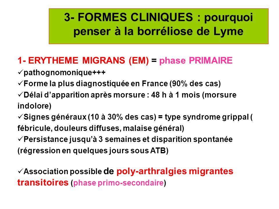 12 3- FORMES CLINIQUES : pourquoi penser à la borréliose de Lyme 1- ERYTHEME MIGRANS (EM) = phase PRIMAIRE pathognomonique+++ Forme la plus diagnostiq