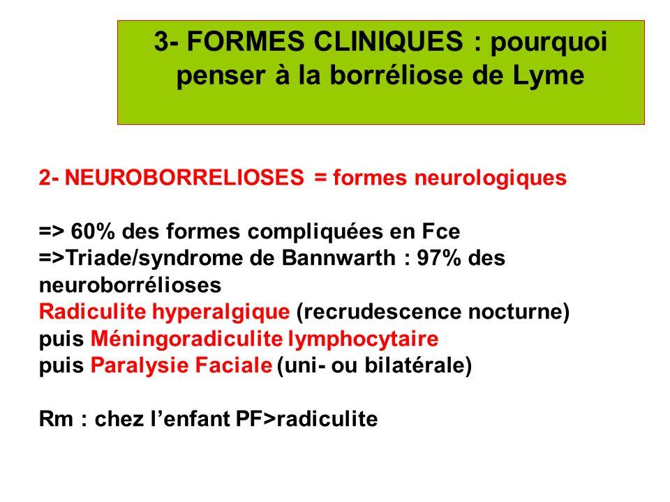 14 3- FORMES CLINIQUES : pourquoi penser à la borréliose de Lyme 2- NEUROBORRELIOSES = formes neurologiques => 60% des formes compliquées en Fce =>Tri