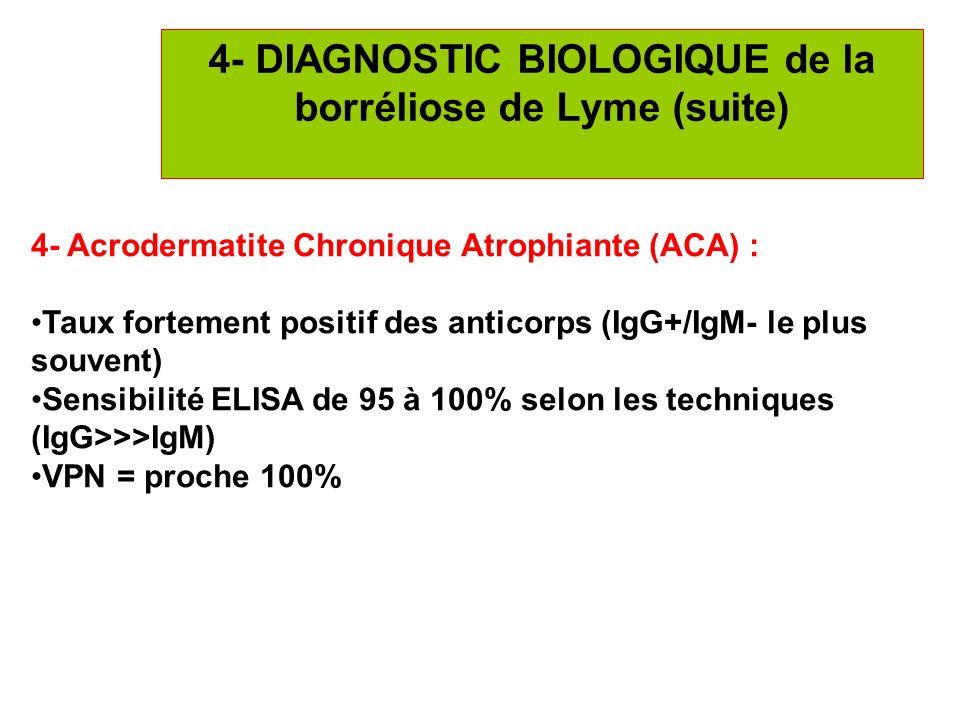 23 4- DIAGNOSTIC BIOLOGIQUE de la borréliose de Lyme (suite) 4- Acrodermatite Chronique Atrophiante (ACA) : Taux fortement positif des anticorps (IgG+