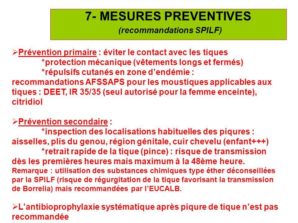 26 7- MESURES PREVENTIVES (recommandations SPILF) Prévention primaire : éviter le contact avec les tiques *protection mécanique (vêtements longs et fe