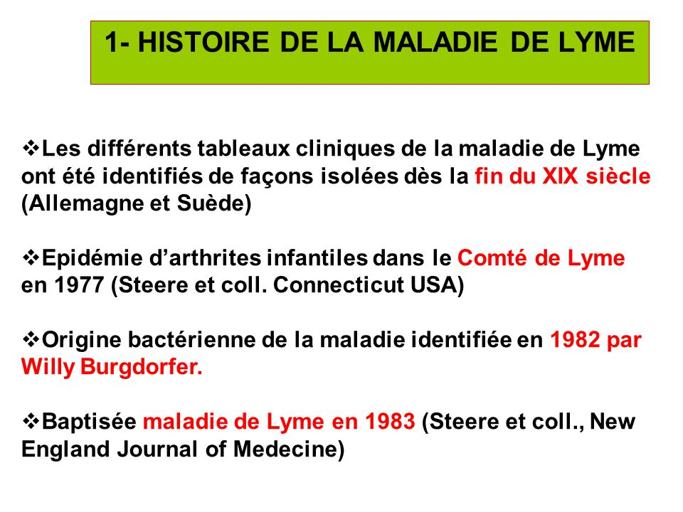 3 1- HISTOIRE DE LA MALADIE DE LYME Les différents tableaux cliniques de la maladie de Lyme ont été identifiés de façons isolées dès la fin du XIX siè