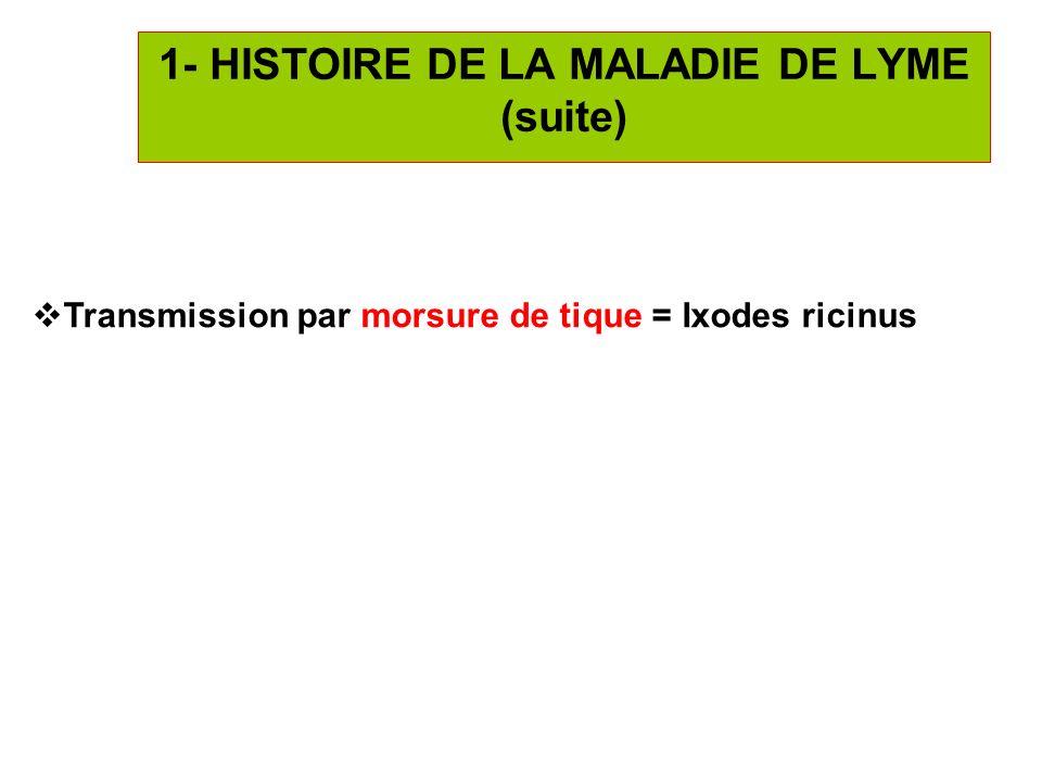 4 1- HISTOIRE DE LA MALADIE DE LYME (suite) Transmission par morsure de tique = Ixodes ricinus