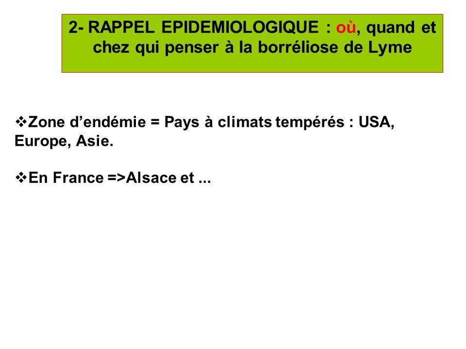 7 2- RAPPEL EPIDEMIOLOGIQUE : où, quand et chez qui penser à la borréliose de Lyme Zone dendémie = Pays à climats tempérés : USA, Europe, Asie. En Fra