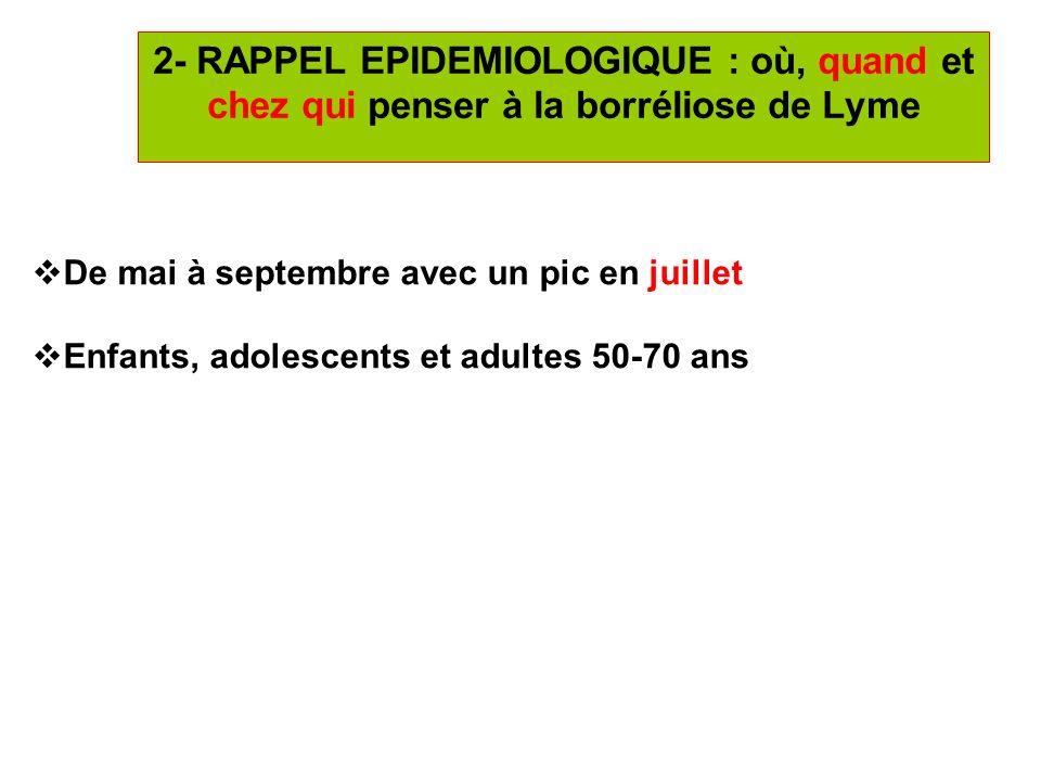 20 4- DIAGNOSTIC BIOLOGIQUE de la borréliose de Lyme (suite) 1- ERYTHEME MIGRANS (EM) : Réponse faible des anticorps (cinétique dapparition lente) Sensibilité ELISA de 20 à 50% en Europe (IgM=IgG) Profil sérologique : *POSITIF : IgM+/IgG- ou IgM-/IgG+ ou IgM+/IgG+ => contrôler par un Western blot(WB) sur le même prélèvement.