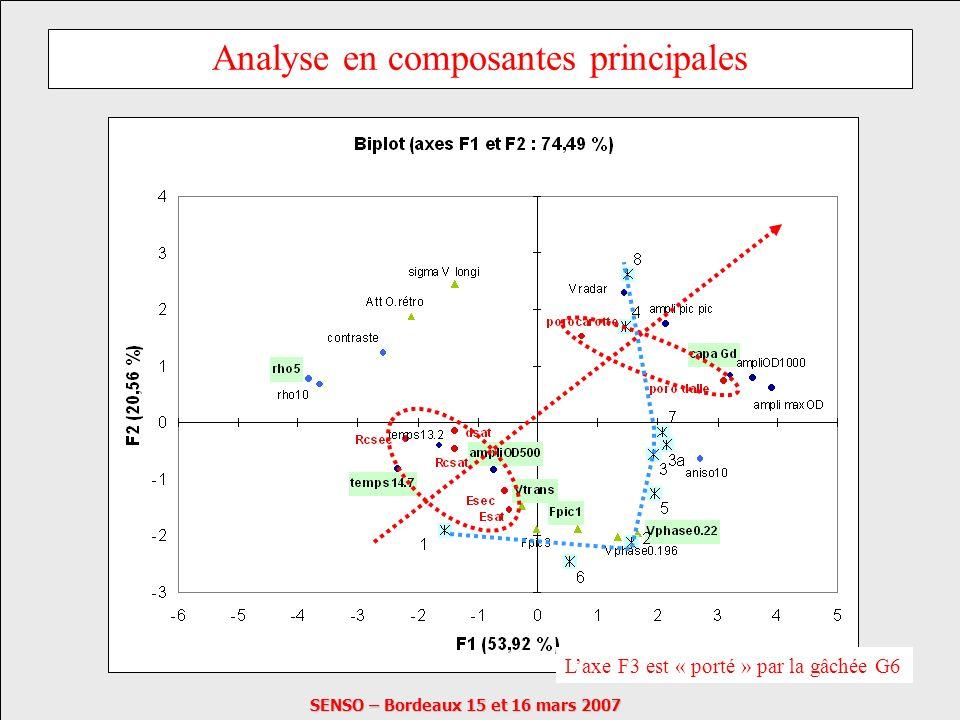 SENSO – Bordeaux 15 et 16 mars 2007 Analyse en composantes principales Laxe F3 est « porté » par la gâchée G6