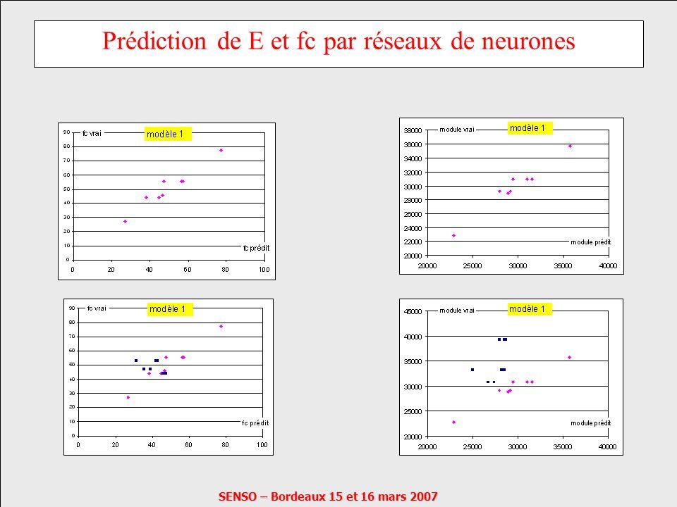 SENSO – Bordeaux 15 et 16 mars 2007 Prédiction de E et fc par réseaux de neurones